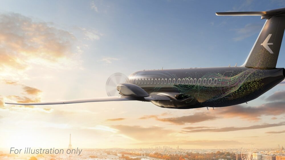 An illustration of a concept of an Embraer New turboprop shared by the manufacturer.