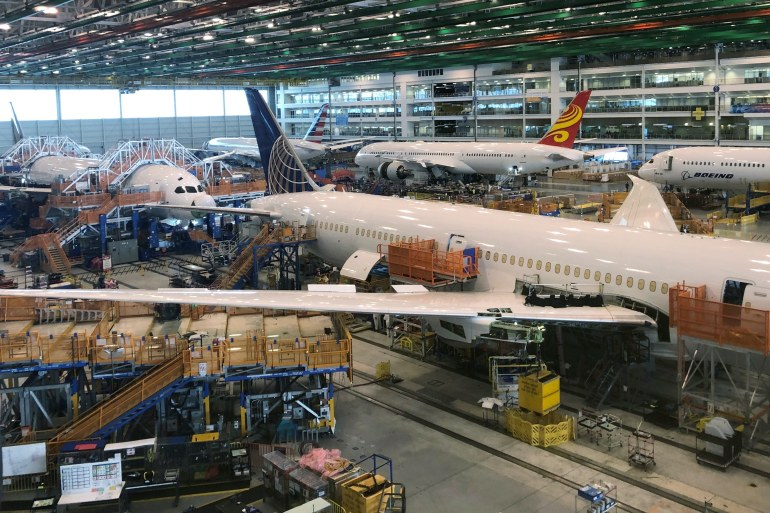 Boeing said earlier this month that inspections for production flaws with its 787 Dreamliner were taking longer than expected, hampering the US planemaker's ability to get jets to customers [File: Eric Johnson/Reuters]